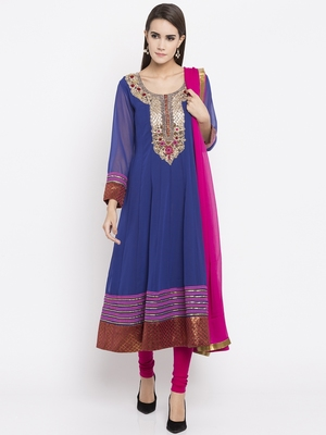 Blue printed georgette salwar