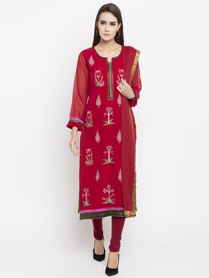 Red printed georgette salwar