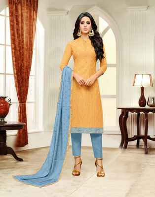 Yellow printed silk salwar