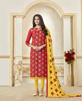 Red printed banarasi silk salwar