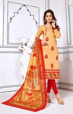 Beige printed cotton salwar
