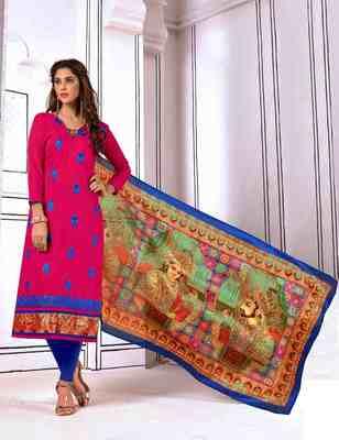 Rani-pink printed cotton salwar