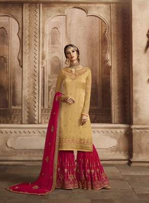 Yellow printed georgette salwar