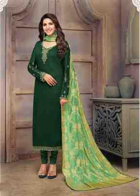 Dark-green printed cotton salwar
