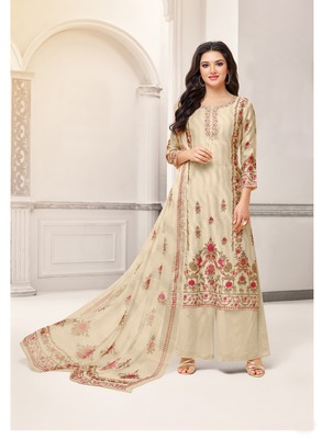 Beige printed cotton salwar