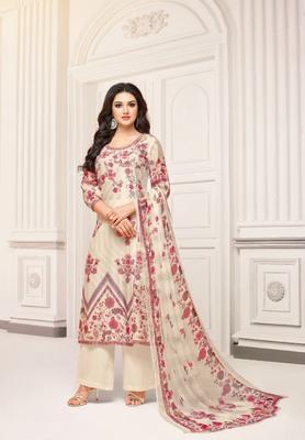 Cream printed cotton salwar