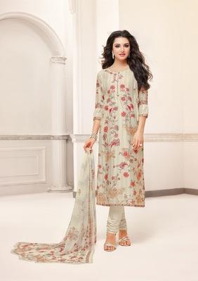 Off-white printed cotton salwar