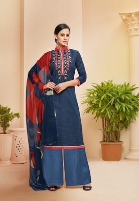 Blue printed cotton salwar