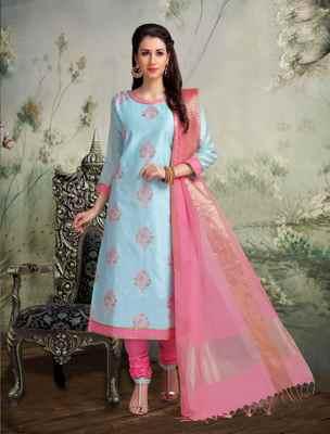 Blue printed banarasi silk salwar