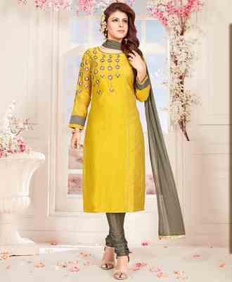 Yellow printed chanderi salwar