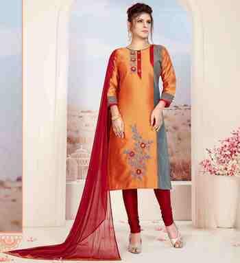 Orange printed jacquard salwar