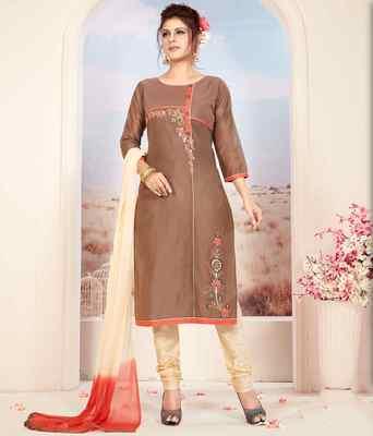 Light-brown printed chanderi salwar