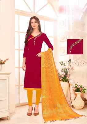 Maroon printed cotton salwar
