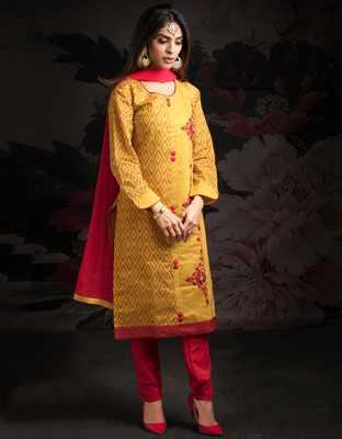 Yellow printed jacquard salwar