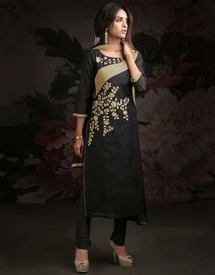 Black printed chanderi salwar