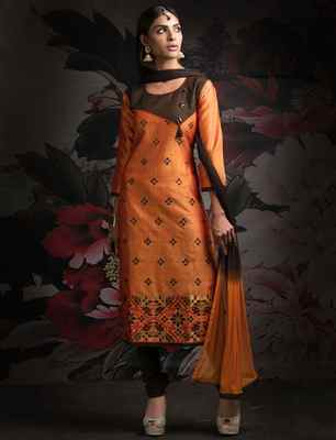 Orange printed cotton salwar