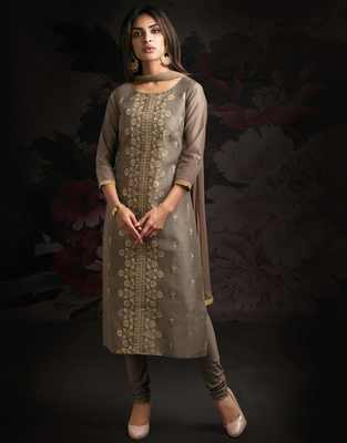 Grey printed chanderi salwar