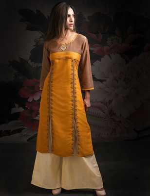 Orange printed chanderi salwar