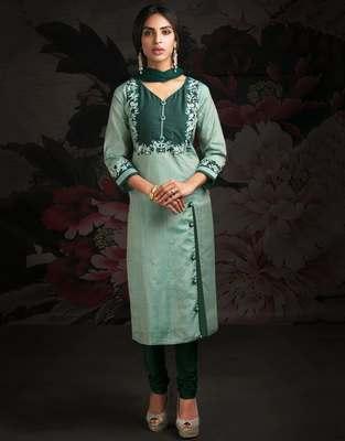 Green printed chanderi salwar