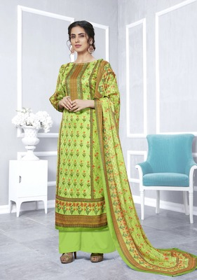 Green printed georgette salwar