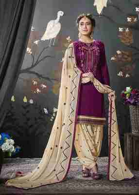 Purple printed cotton salwar