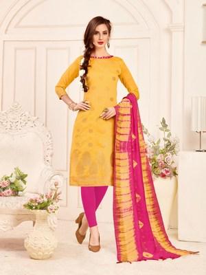 Yellow printed banarasi silk salwar