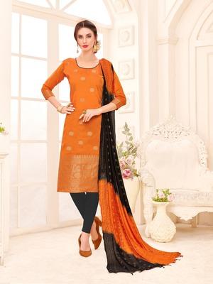 Orange printed banarasi silk salwar