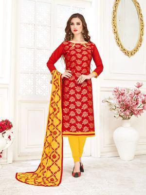 Red printed banarasi silk salwar
