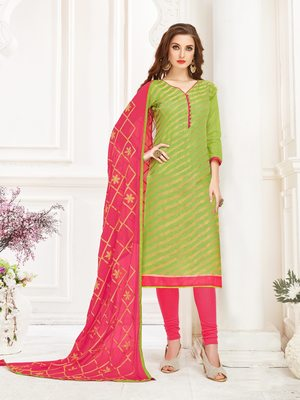 Green printed banarasi silk salwar