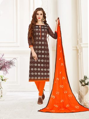 Brown printed banarasi silk salwar