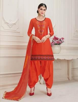 Light-red printed cotton salwar