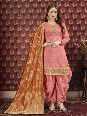 Peach printed viscose salwar