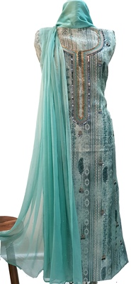 Turquoise Print Handwork Viscose Chanderi Unstitched Suit
