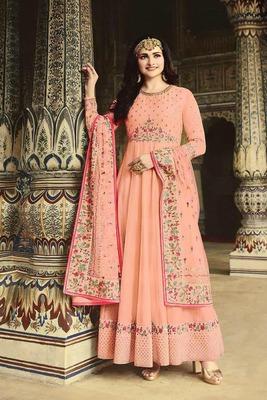 Peach embroidered fancy fabric salwar