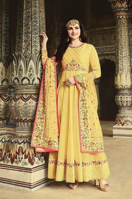 Yellow embroidered fancy fabric salwar