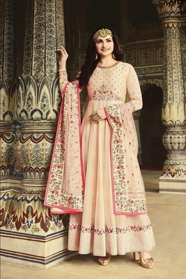Beige embroidered fancy fabric salwar