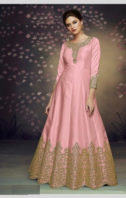 PINK EMBROIDERED SILK SALWAR SEMI STITCHED