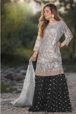 Black embroidered net salwar
