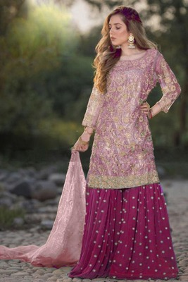 Dark-pink embroidered net salwar