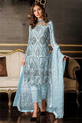 Aqua-blue embroidered net salwar