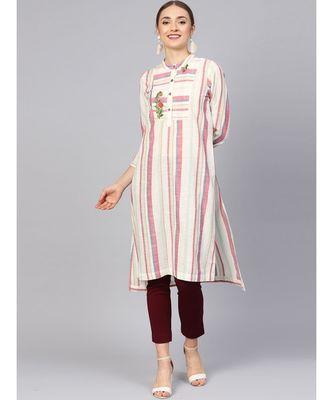 Women Multi Geometric Straight Yarn Dyed Cotton Kurta