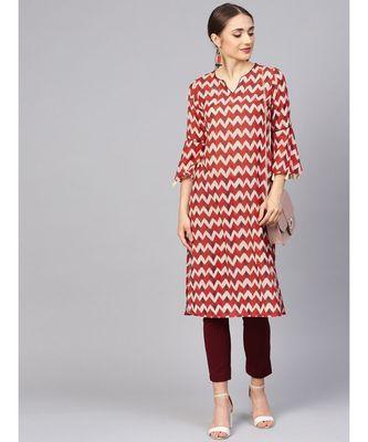 Women Red Geometric Straight Muslin Silk Kurta