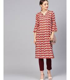 Women Red Geometric Straight Muslin Silk Kurta