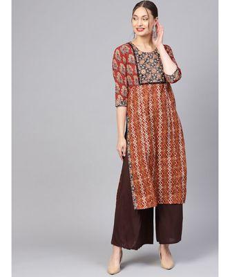 Women Maroon Ethnic Motifs Straight Cotton Kurta