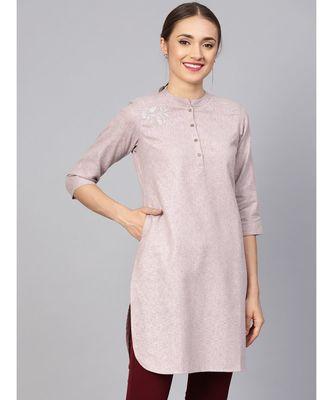 Women Pink Solid Straight Handloom Kurta