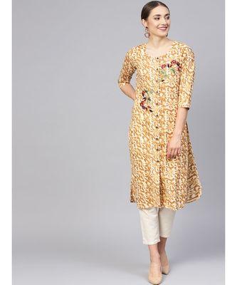Women Brown Abstract Straight Cotton Kurta
