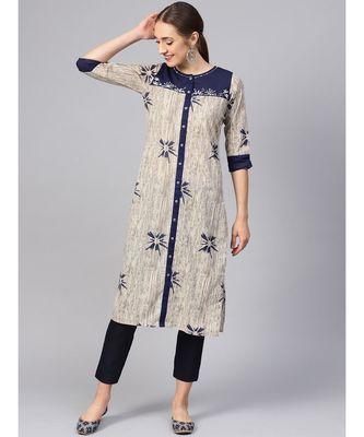 Women Blue Ethnic Motifs Straight Cotton Kurta