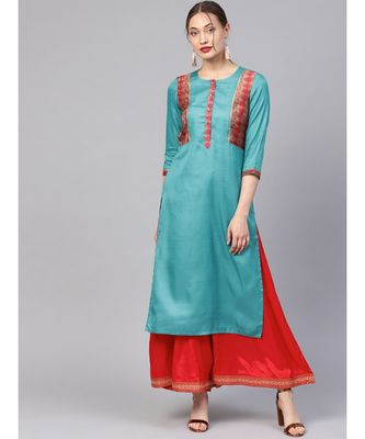 Women Teal Ethnic Motifs Straight Sateen Silk Kurta