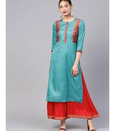 Women Teal Ethnic Motifs Straight Sateen Silk Kurta