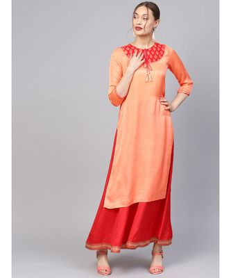 Women Orange Ethnic Motifs Straight Sateen Silk Kurta
